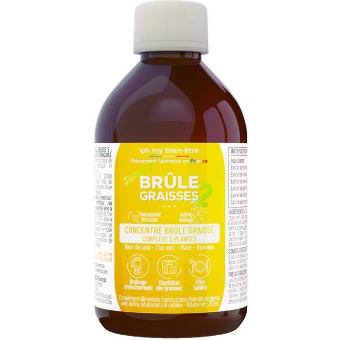 Brule Graisse Extra Fort Puissant Concentré à boire Femme/Homme Efficace 100% Naturel - Amincissant Ventre Plat - Goût Ananas