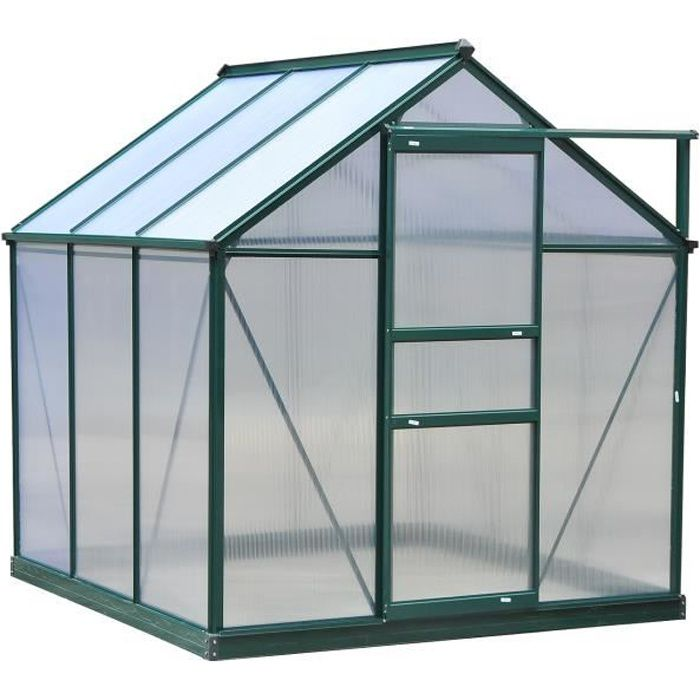 Serre de jardin aluminium polycarbonate 3,65 m² dim. 1,9L x 1,92l x 2,01H m lucarne, porte coulissante + fondation incluse alu.
