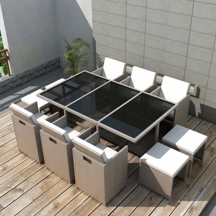 Jeu de mobilier d'extérieur 27 pcs Ensemble table chaise faute de jardin Gris-beige Résine tressée