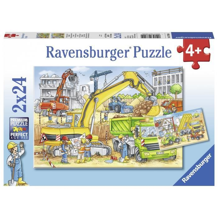 RAVENSBURGER Puzzle 2x24 p - Beaucoup de travail sur le chantier