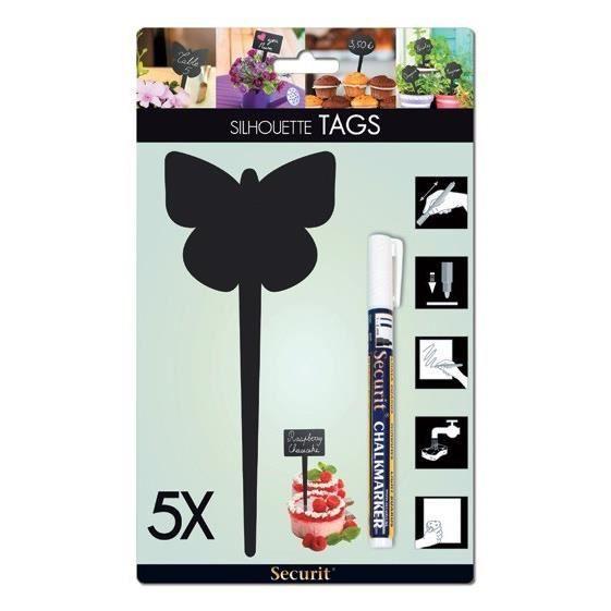 TAG Ardoise silhouette Papillon 5 unités + 1 feutre craie liquide