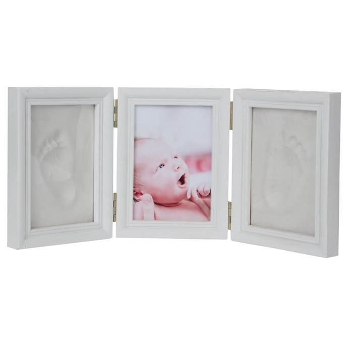 Kit Empreinte Bébé Cadre de Photo de 5 pouces Pliant en bois Souvenir la Naissance de Bebes Cadeaux et Enregistrer 2 Emp