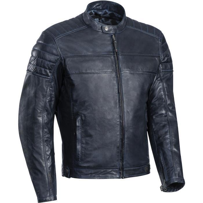 IXON Blouson moto cuir Spark - Homme - Bleu marine