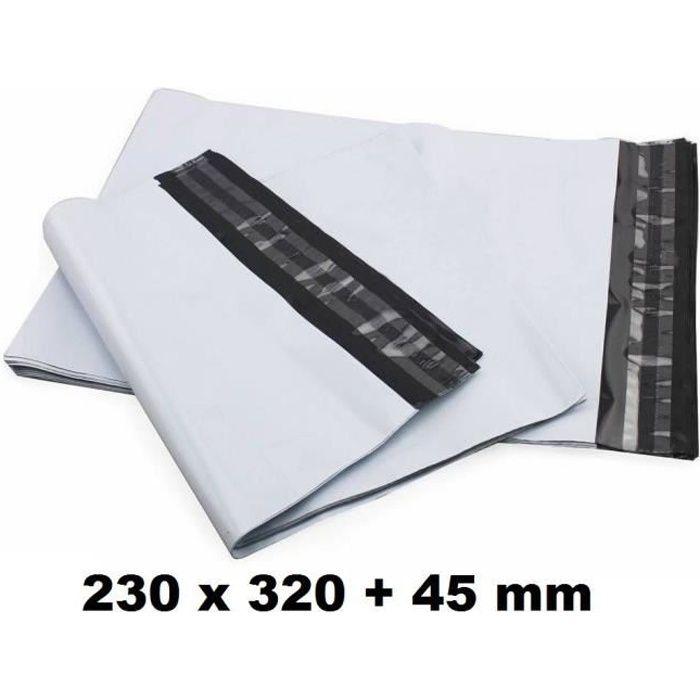 Lot de 100 Enveloppe Plastique d'expédition 230 x 320 + 45 mm de rabat enveloppe blanches opaques indéchirable pour envoi de produit