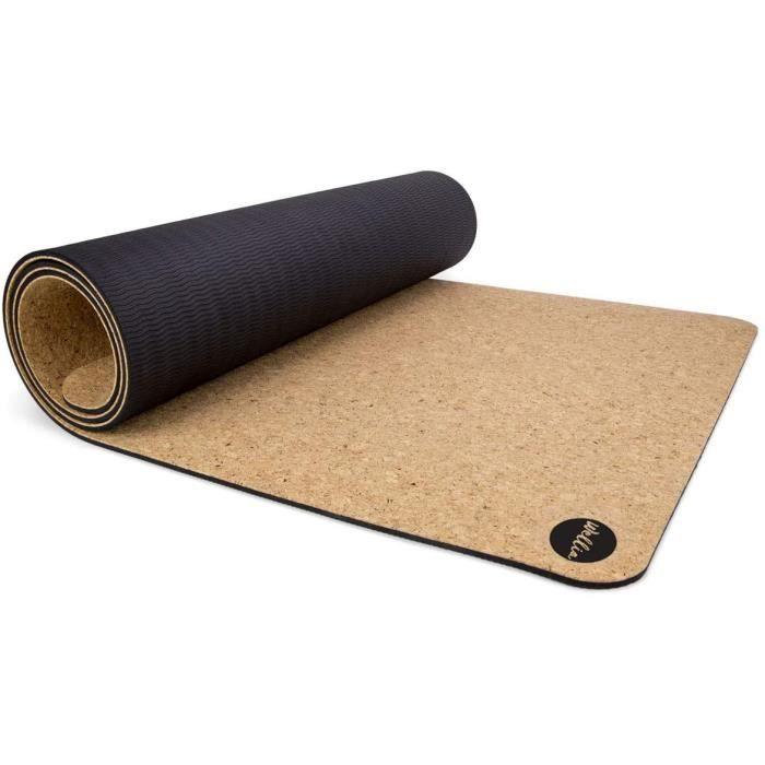 WELLIA Tapis de Yoga en liège Naturel 100% écologique 183cm x 63 cm x 5mm épais, Non Toxique pour Yoga, Pilates, aérobic, Fitness