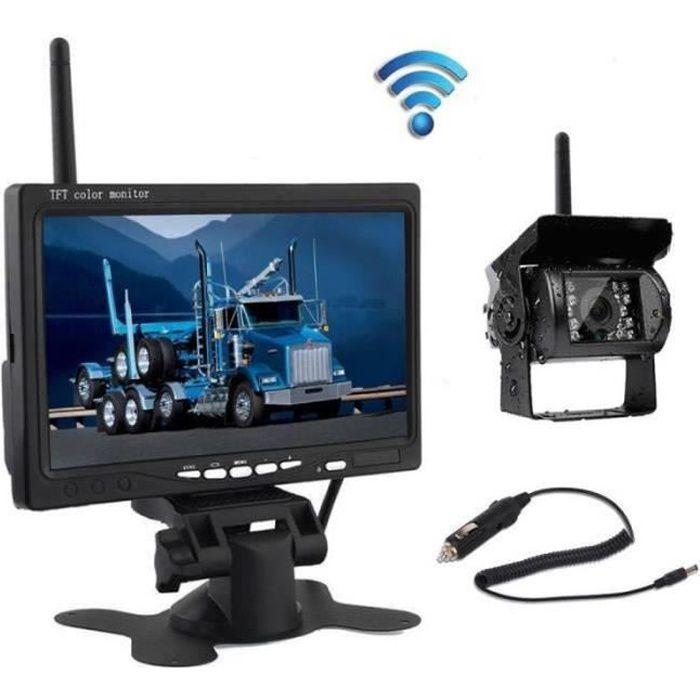 ZZ27533-Podofo Kit de Caméra de Recul Sans Fil 7 Pouces HD LCD Ecran+Caméra de Voiture+Allume-cigare pour Camion RV (Pas de Lign