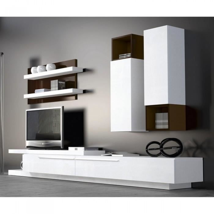 Meuble mural tv chocolat blanc atylia achat vente for Atylia meuble tv