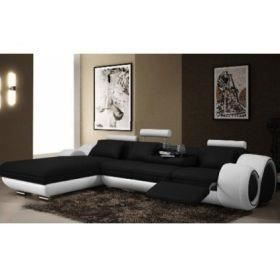 canap d 39 angle cuir m ridienne noir et blanc oslo achat vente canap sofa divan cuir. Black Bedroom Furniture Sets. Home Design Ideas