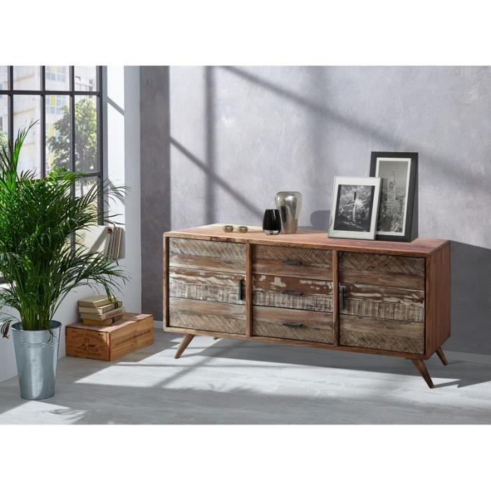 bahut scandinave en bois massif oslo meuble house marron achat vente buffet bahut bahut. Black Bedroom Furniture Sets. Home Design Ideas