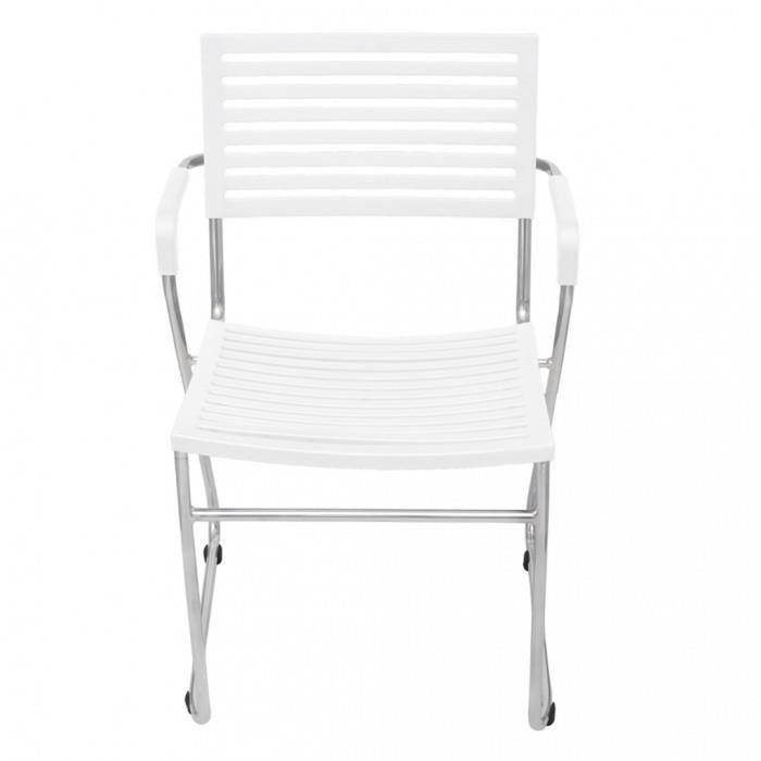chaises de cuisine et de salle a manger chaise empilable avec accoudoir 2 pieces blanc