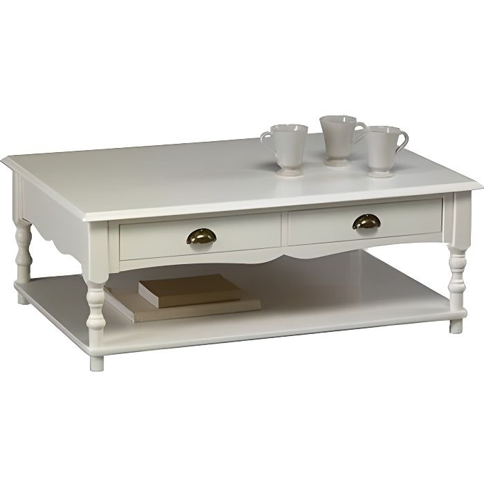 table basse blanche de style anglais achat vente table. Black Bedroom Furniture Sets. Home Design Ideas