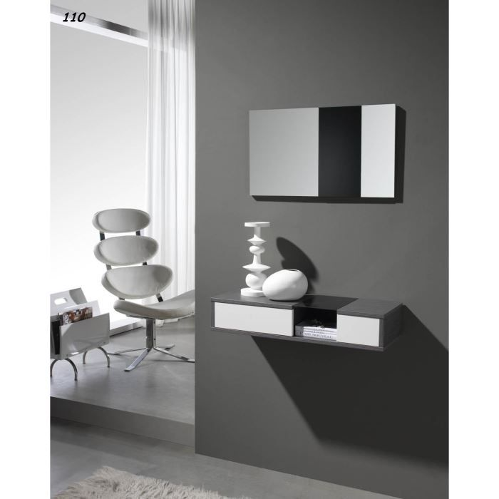 console avec miroir solo 01 10 cendr blanc achat. Black Bedroom Furniture Sets. Home Design Ideas