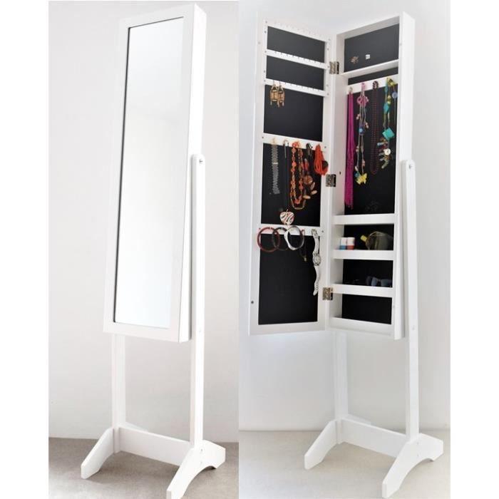 AUDACE DECO Miroir porte bijoux blanc - Miroir Psyché Bijoux - Armoire à  bijoux avec miroir - Miroir range bijoux avec Etagères