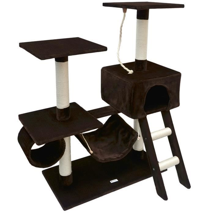arbre chat en peluche sisal marron 118 cm achat vente griffoir poteau arbre chat en. Black Bedroom Furniture Sets. Home Design Ideas