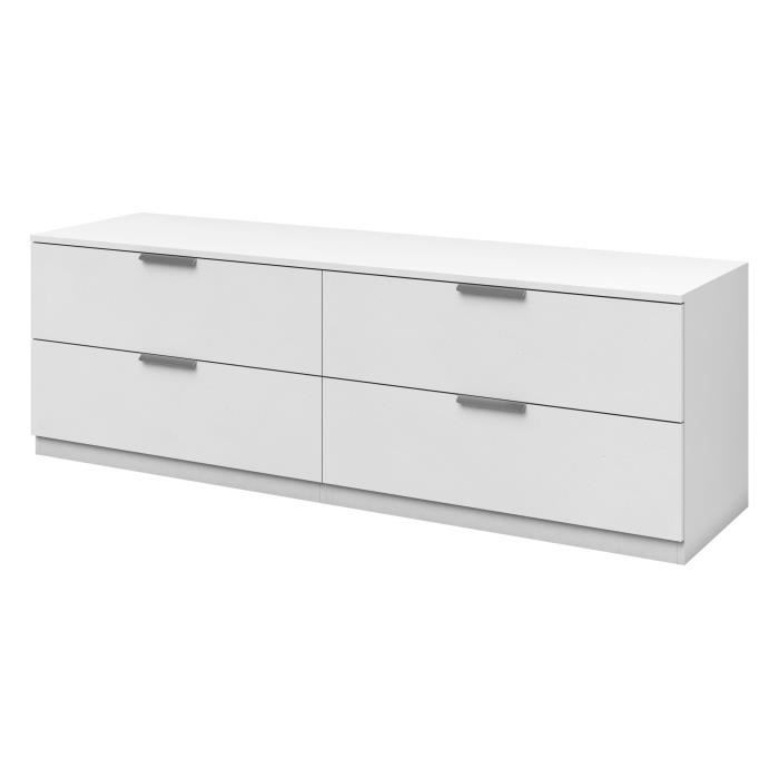 billund commode de chambre style contemporain m lamin blanc l 160 cm achat vente commode. Black Bedroom Furniture Sets. Home Design Ideas