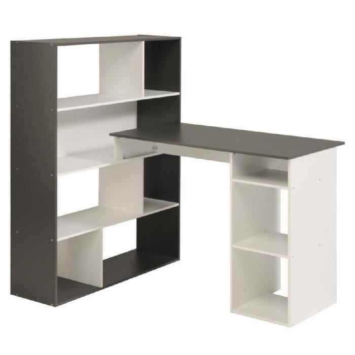 stanley bureau d 39 angle 91 cm blanc et gris ombr achat. Black Bedroom Furniture Sets. Home Design Ideas