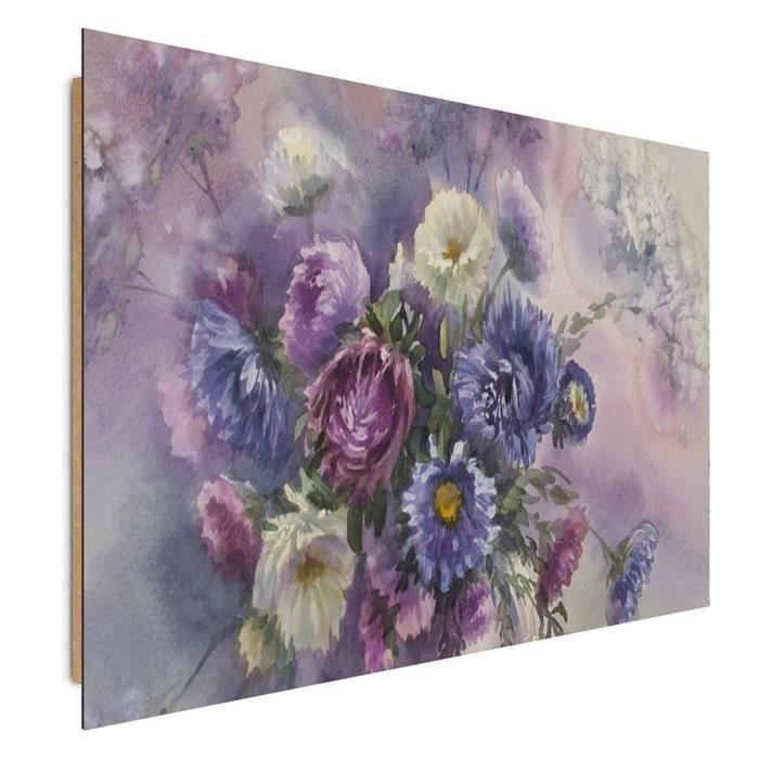tableau deco panel mural imprim 40x50 art nature morte fleurs violet bleu blanc achat vente. Black Bedroom Furniture Sets. Home Design Ideas
