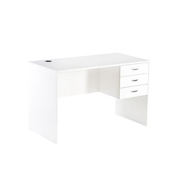 Studio bureau contemporain laqu blanc brillant l 120 for Meuble 2 tiroirs 120 cm woodstock laque blanc