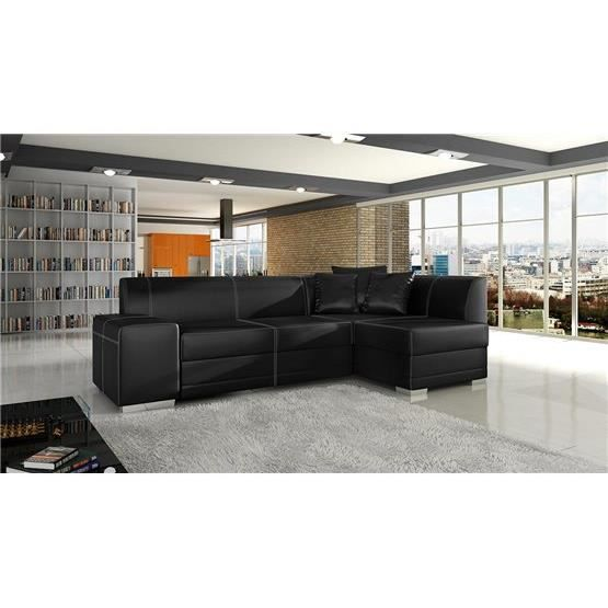 canap angle convertible s ville noir droit achat vente canap sofa divan croute de cuir. Black Bedroom Furniture Sets. Home Design Ideas