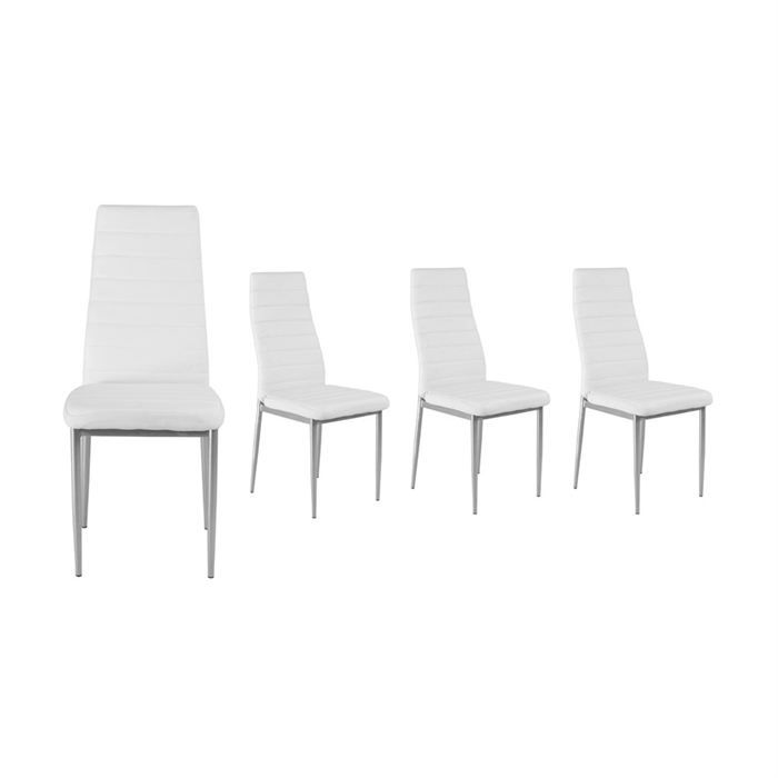 lot de 4 chaises blanches fiction achat vente chaise cdiscount. Black Bedroom Furniture Sets. Home Design Ideas