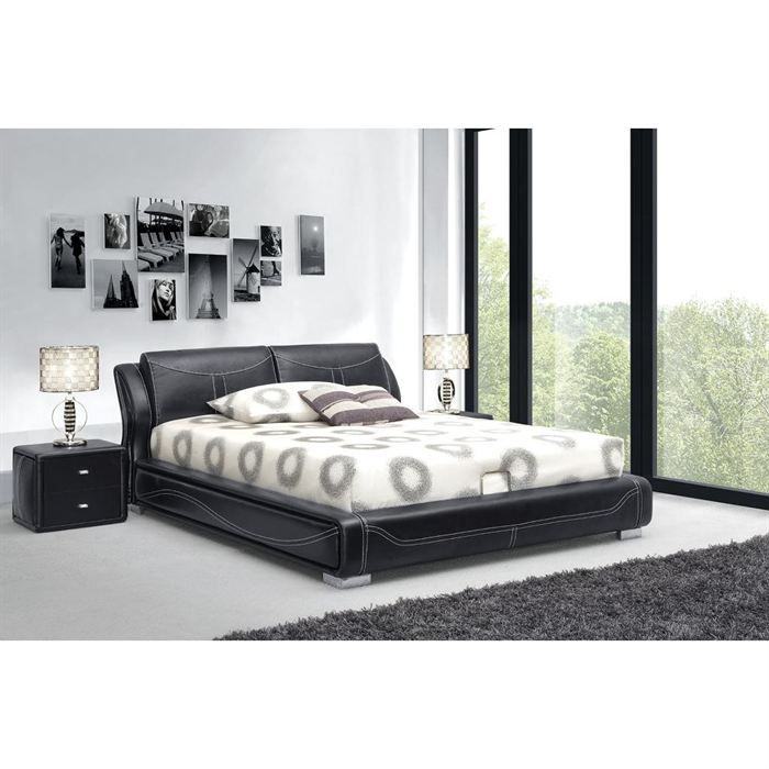 structure lit avec tete de lit sommier coffre achat vente structure de lit soldes. Black Bedroom Furniture Sets. Home Design Ideas