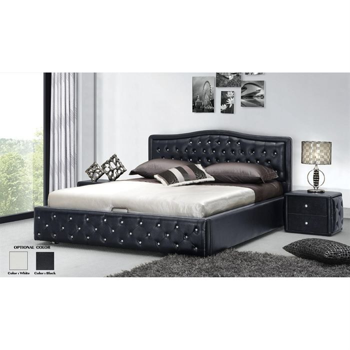structure lit avec tete de lit sommier coffre achat. Black Bedroom Furniture Sets. Home Design Ideas