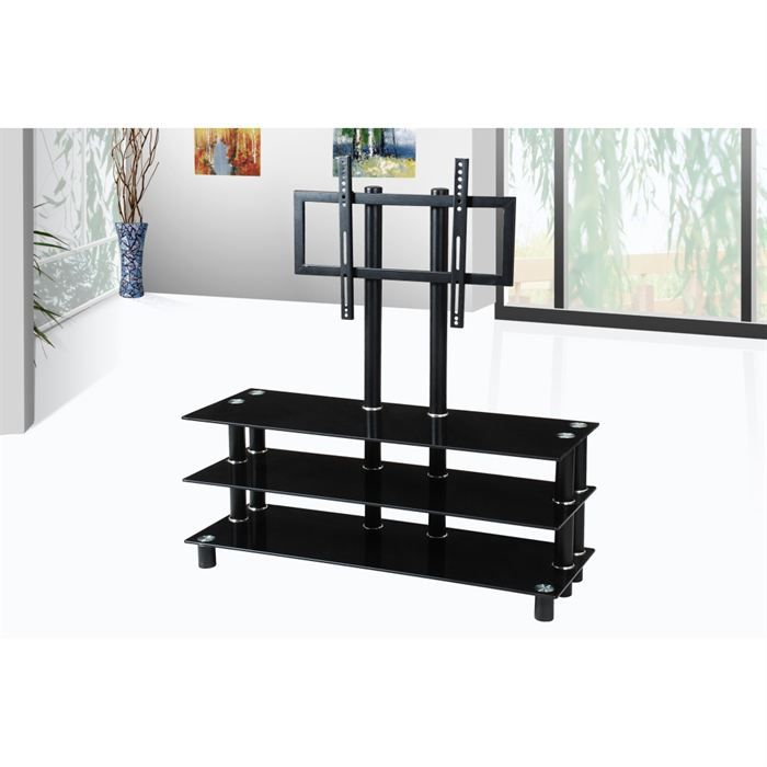 meuble tv design noir support plasma integre achat vente meuble tv meuble tv design. Black Bedroom Furniture Sets. Home Design Ideas