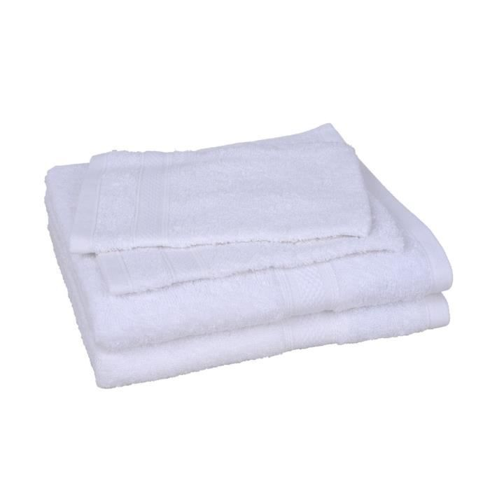 lot de 2 serviettes 2 gants elegance blanc achat vente serviettes de bain cdiscount. Black Bedroom Furniture Sets. Home Design Ideas