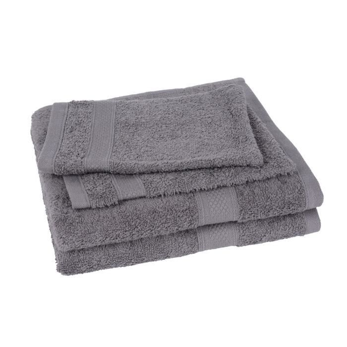 lot de 2 serviettes 2 gants elegance gris achat vente serviettes de bain cdiscount. Black Bedroom Furniture Sets. Home Design Ideas