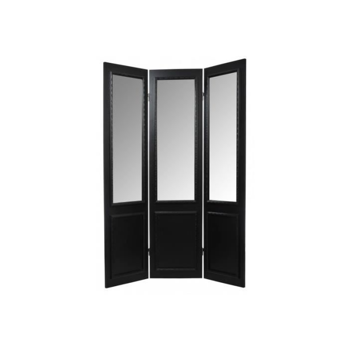 paravent miroir 3 panneaux bois noir 45x180cm j achat. Black Bedroom Furniture Sets. Home Design Ideas