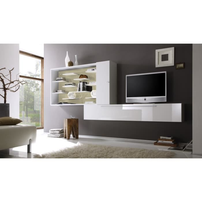 composition tv murale design blanc laqu cru gibraltar achat vente meuble tv composition tv. Black Bedroom Furniture Sets. Home Design Ideas