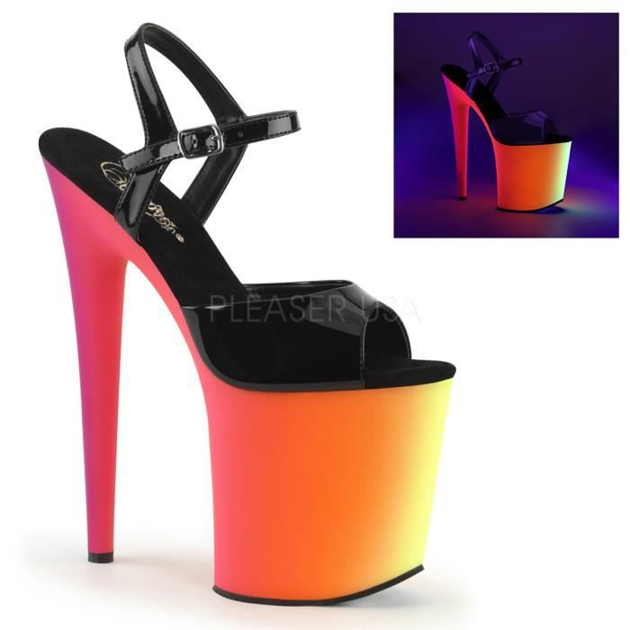Pleaser RAINBOW-809UV 8 Inch Heel, 4 Inch PF Ankle Strap Sandal W/Neon MC PF Bottom