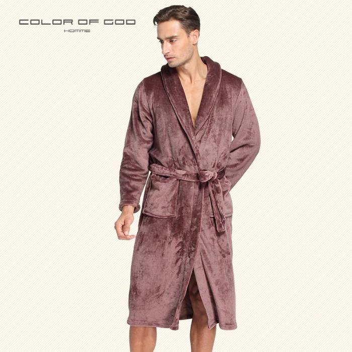 Peignoir De Bain Homme Luxe Doux Peignoir Robe De Chambre Taille Xl