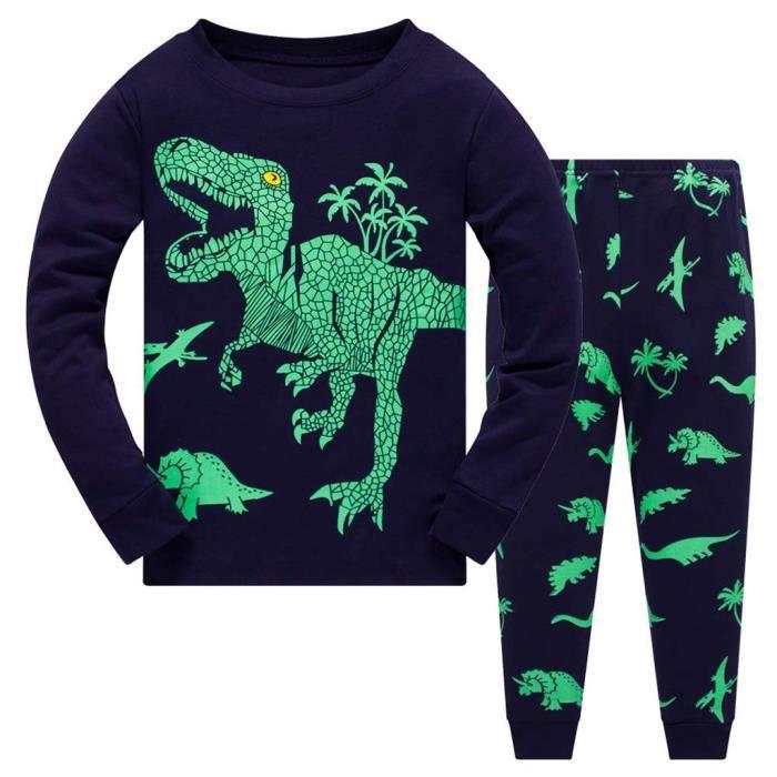 Enfant Bébé Garçons dessin animé dinosaure T-shirt Hauts Solide Pantalon Tenues Costume