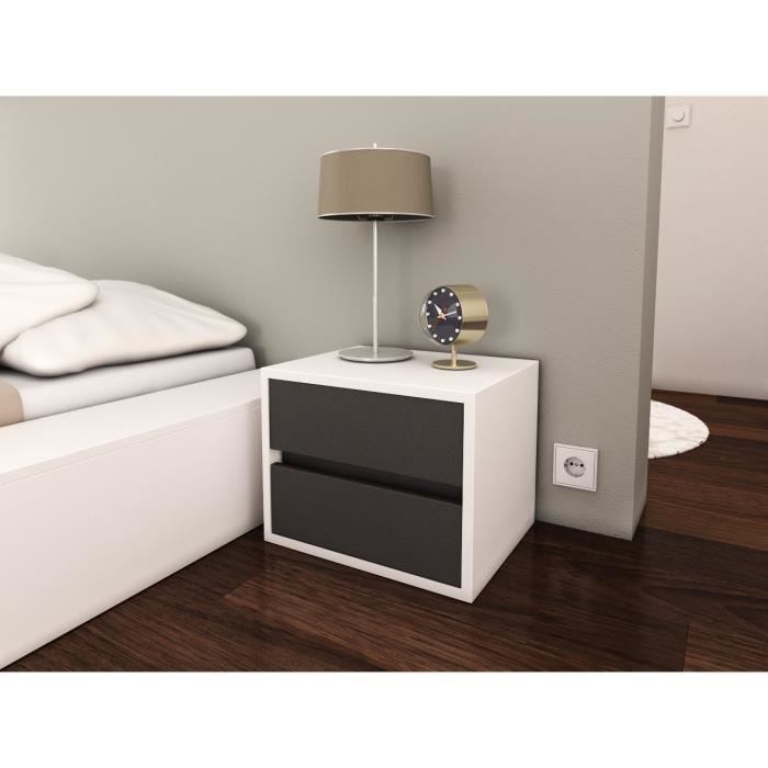 pop table chevet 40 cm gris et blanc achat vente. Black Bedroom Furniture Sets. Home Design Ideas