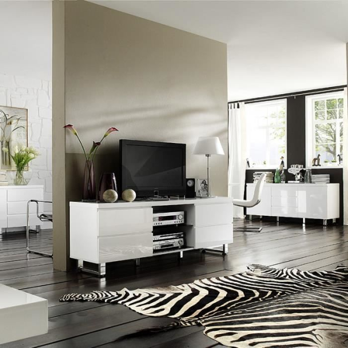 meuble tv laque blanc brillant design achat vente. Black Bedroom Furniture Sets. Home Design Ideas