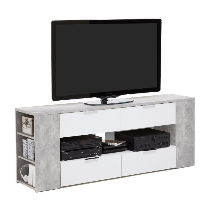 tabor meuble tv contemporain m lamin d cor gris effet b ton et blanc l 180 cm achat vente. Black Bedroom Furniture Sets. Home Design Ideas