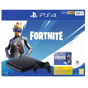 CONSOLE PS4 Pack PS4 Slim 500 Go Noire + Voucher Fortnite