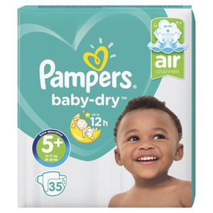 COUCHE Pampers Baby-Dry Taille 5+, 12-17 kg - 35 Couches