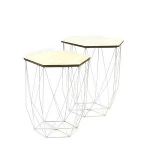 BOUT DE CANAPÉ Lot de 2 Tables gigognes filaire - Blanc - L 40 x