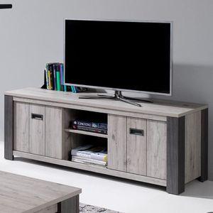 MEUBLE TV Meuble télé 150 cm contemporain couleur bois gris
