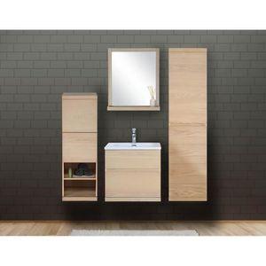 MEUBLE VASQUE - PLAN Ensemble salle de bain chêne 60 cm meuble + vasque