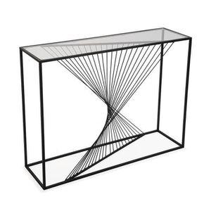 CONSOLE Console en métal noir avec plateau en verre - L 12