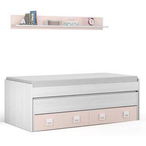 LIT GIGOGNE Lit enfant avec 2 tiroirs lit et une étagère, en b