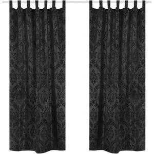 2pcs Rideaux satinés Noir style baroque 140 x 245 cm avec ...