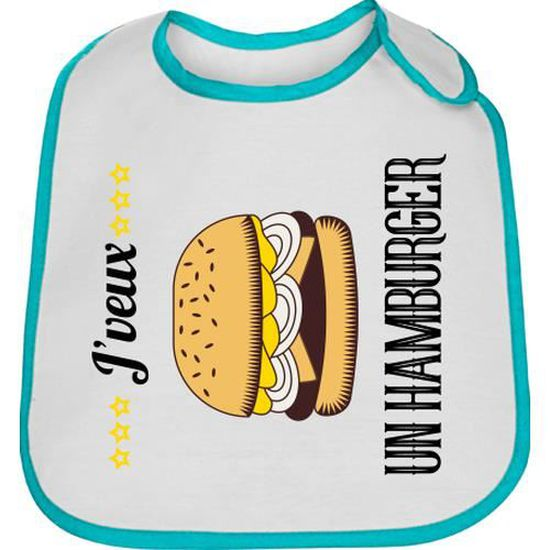 Bavoir Bleu Bébé Hamburger Mac Baby