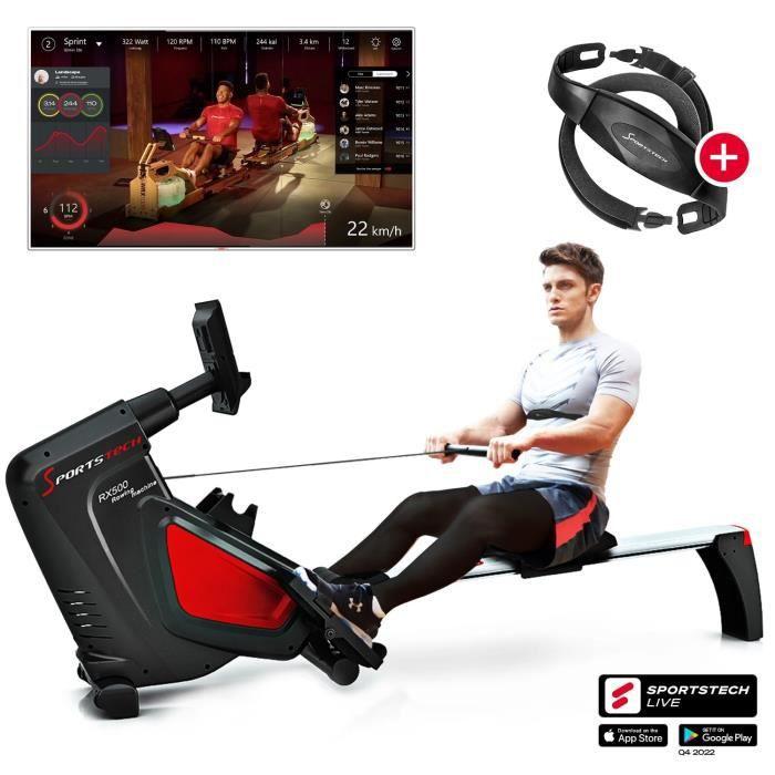 Sportstech RSX500 rameur- marque de qualité allemande - video & multijoueurs APP - avec Moniteur de fréquence Cardiaque - 16 program