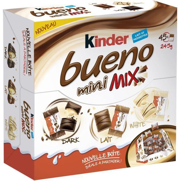 KINDER BUENO Mini Mix chocolatées T45, au lait et noisettes - 245 g