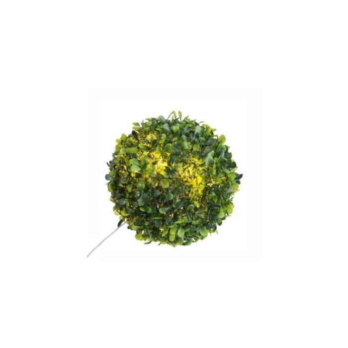 Boule de buis 10 LED - 18 cm - Polypropylène - Vert