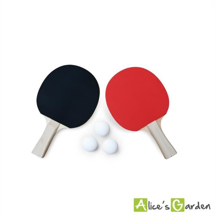 Lot de 2 raquettes et 3 balles pour table de ping pong, sport tennis de table, kit de ping pong